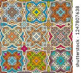 vector patchwork quilt pattern. ... | Shutterstock .eps vector #1247807638