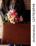 vintage suitcase and girl with... | Shutterstock . vector #1247818948