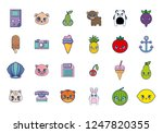 sweet and adorable kawaii set... | Shutterstock .eps vector #1247820355