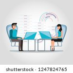 couple working and set icons... | Shutterstock .eps vector #1247824765