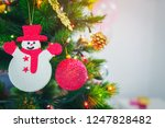 decorated christmas tree with...   Shutterstock . vector #1247828482