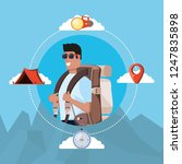 man tourist with bag camping... | Shutterstock .eps vector #1247835898