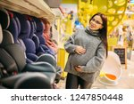 pregnant woman choosing child... | Shutterstock . vector #1247850448