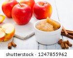 apple jam at porcelain dish ... | Shutterstock . vector #1247855962