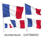 france vector flags set. 5 wavy ... | Shutterstock .eps vector #124786042
