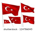 turkey vector flags set. 5 wavy ... | Shutterstock .eps vector #124786045