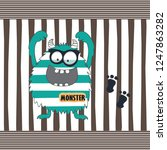 funny monster cartoon vector... | Shutterstock .eps vector #1247863282