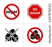 no sugar  stop sugar icons set...   Shutterstock .eps vector #1247878312