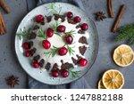 christmas pudding  fruit cake... | Shutterstock . vector #1247882188