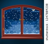 snowy winter outdoor view in... | Shutterstock .eps vector #1247889238