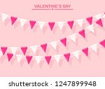 pink banner with garland of... | Shutterstock .eps vector #1247899948
