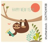 happy sloth in new year...   Shutterstock .eps vector #1247924938