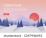 winter forest. sunset or... | Shutterstock .eps vector #1247936452