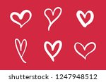 hand drawn hearts | Shutterstock .eps vector #1247948512