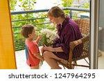 happy happy grandmother with... | Shutterstock . vector #1247964295