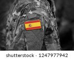 flag of spain on soldiers arm ...   Shutterstock . vector #1247977942
