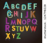 colored letters on dark... | Shutterstock .eps vector #124798228