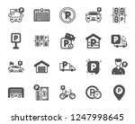 parking icons. car garage ... | Shutterstock .eps vector #1247998645