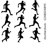 set of silhouettes. runners on... | Shutterstock .eps vector #1248024895