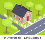 cottage two storey house side... | Shutterstock . vector #1248038815