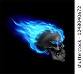 black skull on blue fire with... | Shutterstock .eps vector #1248040672