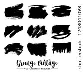 set of black brush stroke and... | Shutterstock .eps vector #1248041098