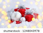 christmas decorative balls and... | Shutterstock . vector #1248043978