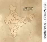 old india map with vintage... | Shutterstock .eps vector #1248092812