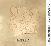 old  ivory coast map with... | Shutterstock .eps vector #1248092842