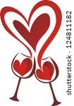 wine valentines day heart... | Shutterstock .eps vector #124811182