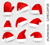 christmas santa claus hats with ... | Shutterstock .eps vector #1248126928