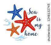 sea poster with sea fish phrase ... | Shutterstock .eps vector #1248132745