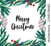 watercolor colorful christmas...   Shutterstock . vector #1248158482