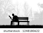 silhouette of a man with a book. | Shutterstock .eps vector #1248180622