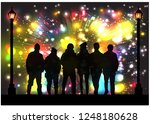 silhouettes celebrate the new... | Shutterstock .eps vector #1248180628