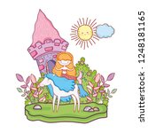 mermaid with unicorn and castle ... | Shutterstock .eps vector #1248181165