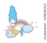 cute mermaid with clouds and... | Shutterstock .eps vector #1248182512