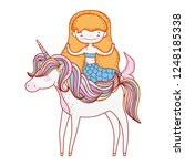 cute mermaid with unicorn... | Shutterstock .eps vector #1248185338