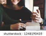 closeup of asia woman using... | Shutterstock . vector #1248190435