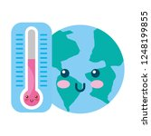 kawaii world and thermometer... | Shutterstock .eps vector #1248199855