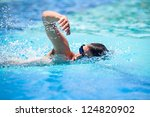 young man swimming the front... | Shutterstock . vector #124820902