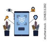 smartphone biometric scan eye... | Shutterstock .eps vector #1248211282