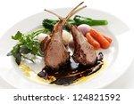 roasted lamb rib chops | Shutterstock . vector #124821592