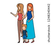 lesbian couple with son | Shutterstock .eps vector #1248240442