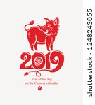 year of the pig. 2019. red... | Shutterstock .eps vector #1248243055