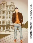 fashion man on a street vintage ... | Shutterstock .eps vector #124827916