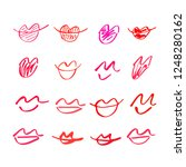 set of hand drawn lipstick kiss ... | Shutterstock .eps vector #1248280162