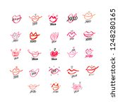set of hand drawn lipstick kiss ... | Shutterstock .eps vector #1248280165