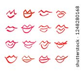 set of hand drawn lipstick kiss ... | Shutterstock .eps vector #1248280168