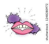 woman mouth pop art style | Shutterstock .eps vector #1248280972